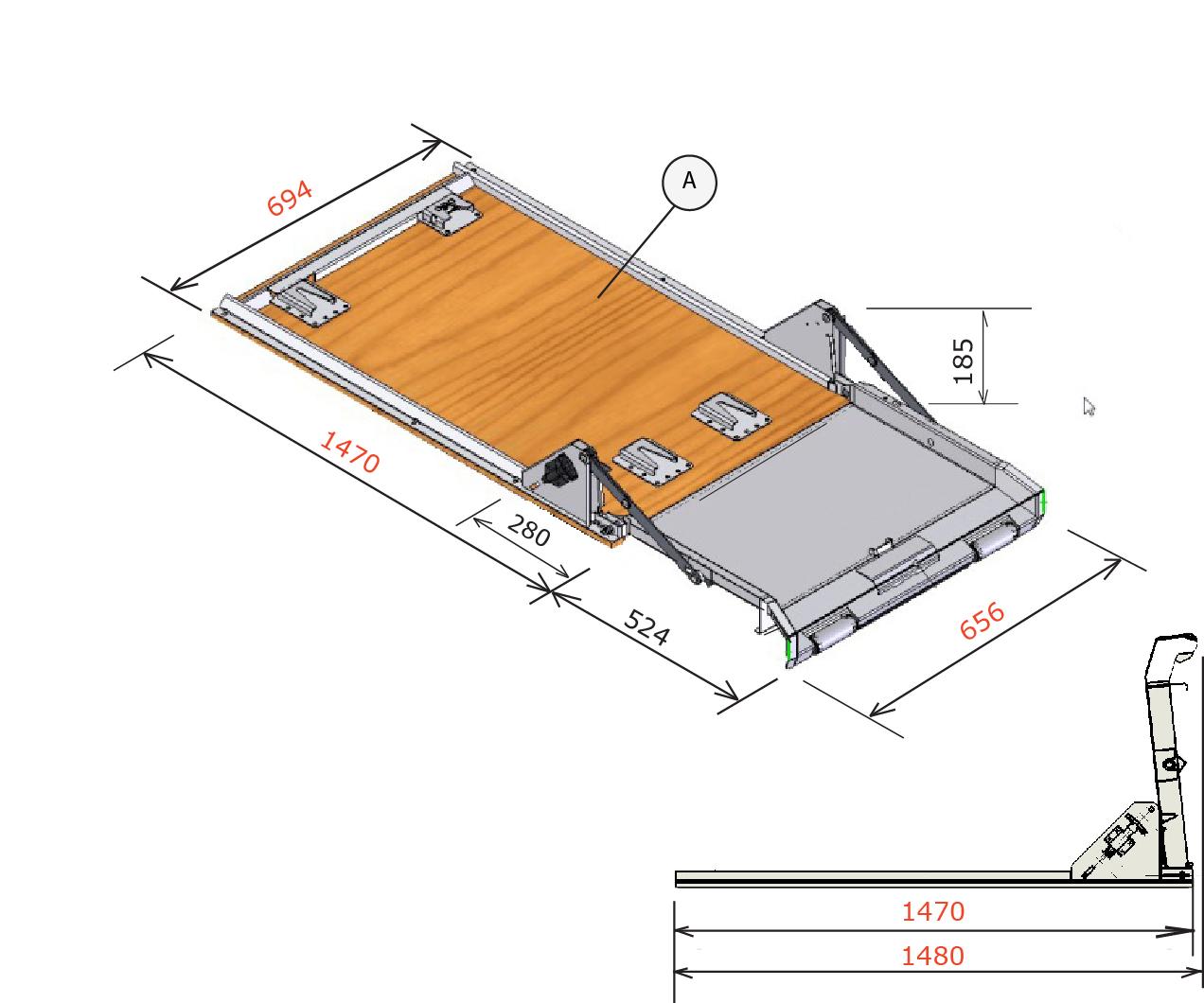 brancard XL36 mobiele bedrijfswagen inrichting